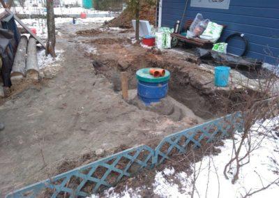 Обсыпка автономной канализации песко - цементом